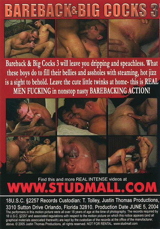 Bareback Big Uncut Dicks 3 DVD - Back