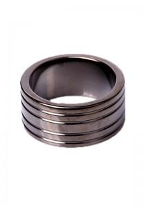 Black Steel Cockring Ribbed - Front