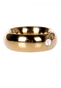 Gold Donut Cockring with Jewel - Thick - Front